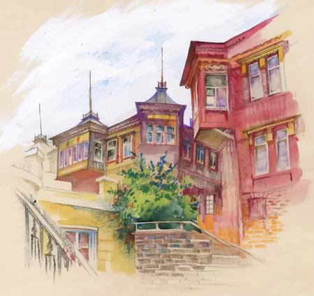 autumn city: Watercolor autumn city street vector illustration