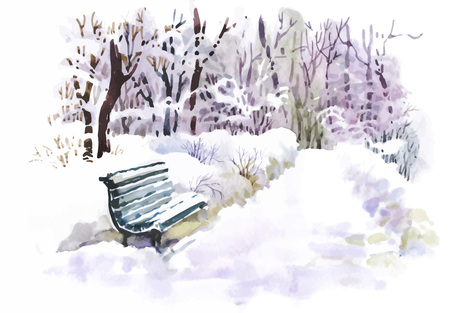 Watercolor winter landscape vector illustration Ilustração