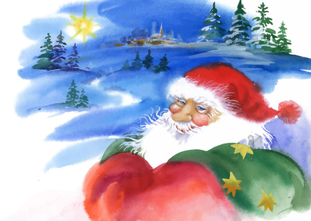 retro postcard: Merry Christmas and New Year card with Santa Claus, watercolor illustration