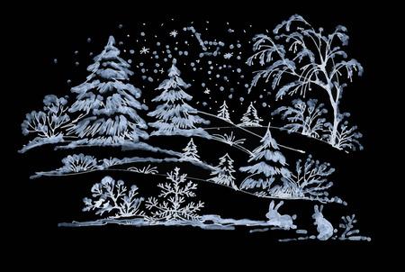coniferous forest: invierno acuarela del paisaje de bosques de coníferas con los conejos Vectores