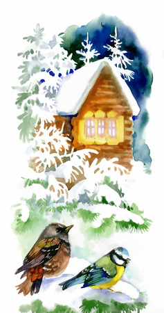 Watercolor winter landscape with snowy house with birds illustration Illustration