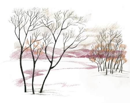 Watercolor winter landscape vector illustration Illustration