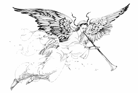 Mooie engel met vleugels op witte achtergrond