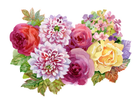 Watercolor autumn garden blooming flowers illustration isolated on white background