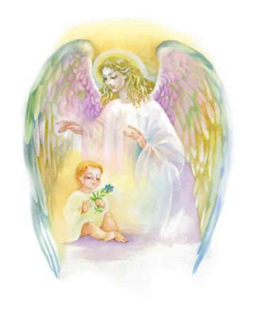 Bello angelo con le ali che sorvolano bambino, illustrazione dell'acquerello