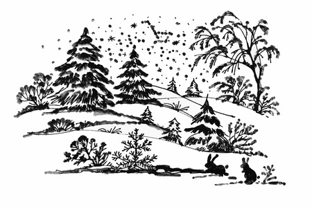 coniferous forest: Watercolor winter Coniferous forest landscape with rabbits, vector illustration