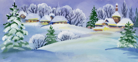 hamlet: Watercolor winter landscape with snowy houses illustration