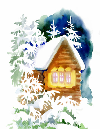 Watercolor winter landscape with snowy houses illustration