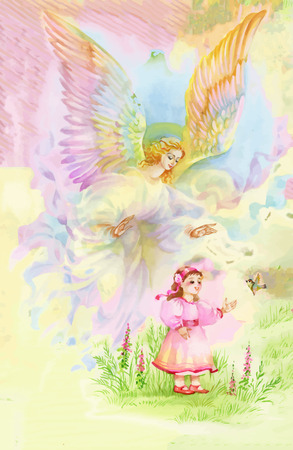 glorify: Beautiful Angel with Wings Flying over Child, Watercolor Illustration Illustration