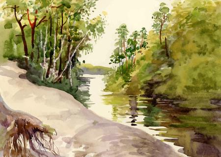 Watercolor summer rural landscape illustration
