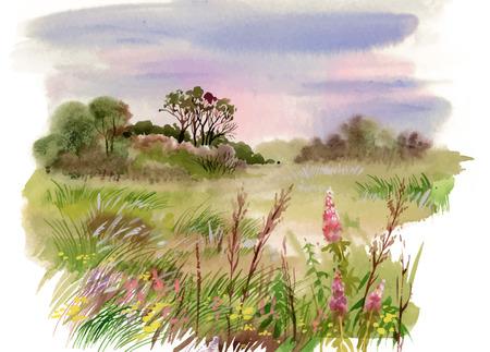 Aquarell Sommer-Landschaft Illustration
