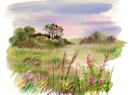 Watercolor summer rural landscape illustration