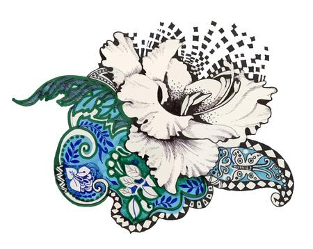 Abstract felt-tip pen flowers illustration Illustration
