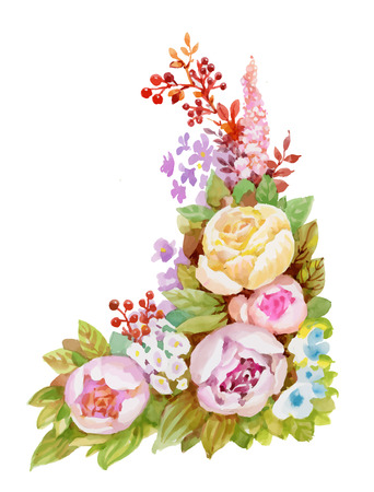 Watercolor floral pattern with pink flowers on white background