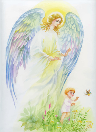 eden: Beautiful angel with wings flying over child