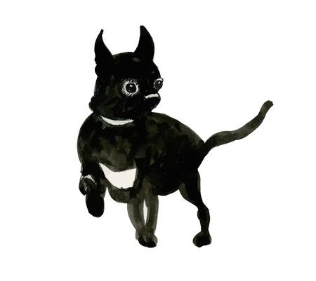 French dark Bulldog muzzle illustration Illustration