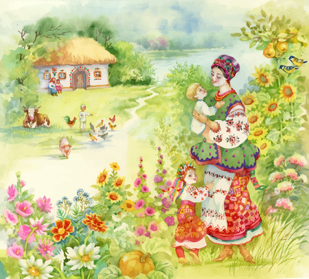 animals feeding: Watercolor countryside landscape with little boy feeding farm animals over Woman in folk costume with children.