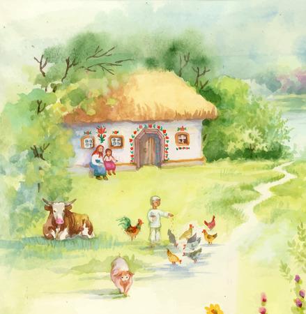 farm building: Watercolor countryside landscape with little boy feeding farm animals