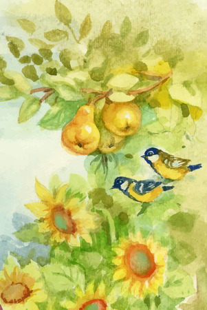 orchard: Watercolor sunflowers and pears in orchard with titmouse birds Illustration