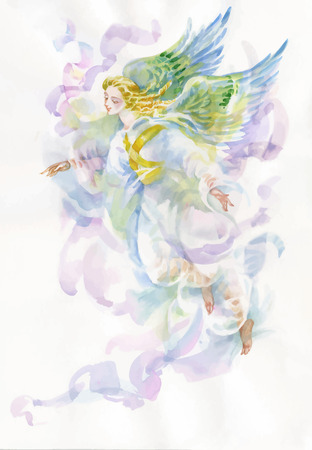 Beautiful angel with wings watercolor illustration
