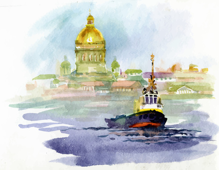 radiant: Watercolor river landscape with church and boat Illustration