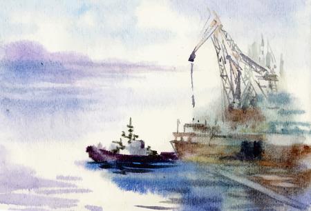 水彩の工業港手描きイラスト