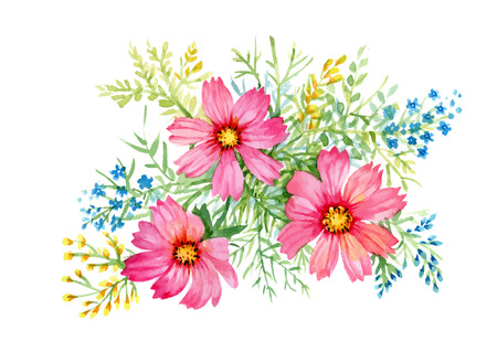 valentine s: Flowers watercolor illustration. Manual composition. Mother s Day, wedding, birthday, Easter, Valentine s Day. Pastel colors Spring Summer
