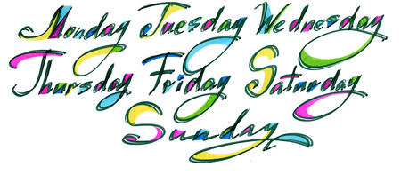 tuesday: Handwritten days of the week Monday, Tuesday, Wednesday, Thursday, Friday, Saturday, Sunday. Color ink calligraphy words isolated on white background Illustration