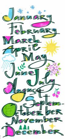 Los meses del año modelo, color dibujado a mano las letras con el modelo del arte del pixel sobre la cubierta blanca, calendario