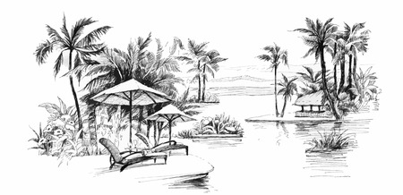 흑백 그림 팜 골목 그림