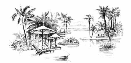 Zwart en wit schilderen steeg van de palm illustratie Stock Illustratie