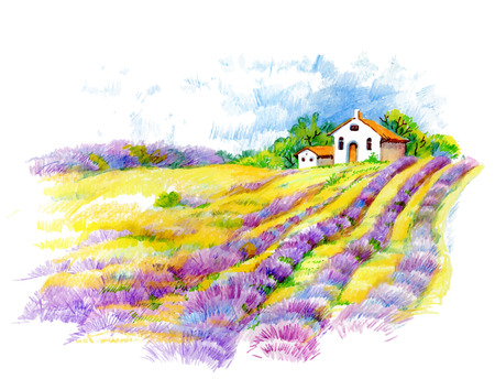 Watercolor rural house in green summer day illustration