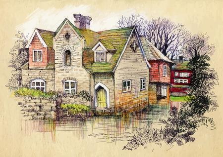Acuarela casa rural en día la ilustración verde del verano