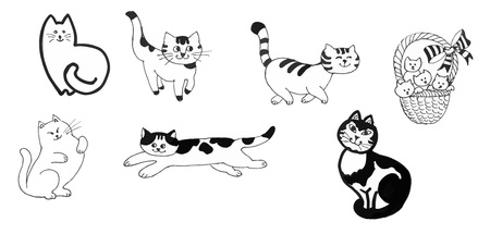 briton: Black and white cats and kittens set ink hand drawn illustration Illustration