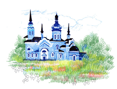 thatched: Hand drawn blue church in the field Illustration