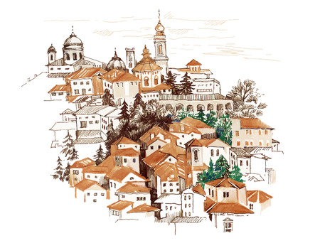Watercolor cityscape with houses illustration. Vettoriali