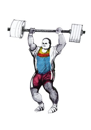 weightlifter: Weightlifter with barbell lifted ink hand drawn illustration