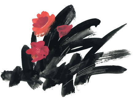 ink drawing: Watercolor and ink illustration of blossoming flowers
