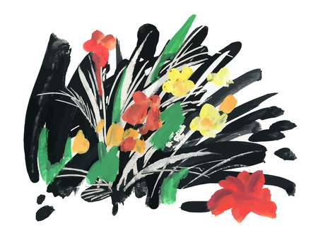 Watercolor and ink illustration of blossoming flowers