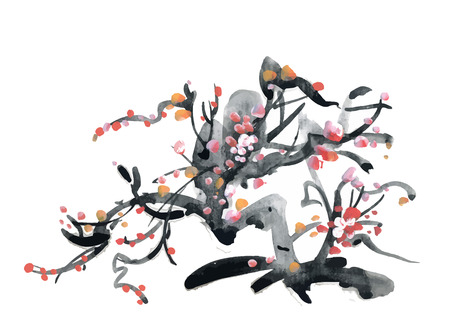 ink illustration: Watercolor and ink illustration of blossoming flowers