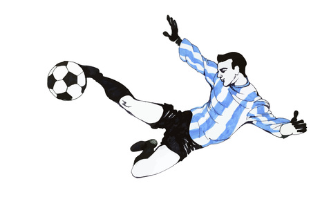 Football Soccer Player Wearing A Blue Striped Shirt Kicking The Ball on A Field, Isolated on White Background