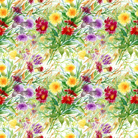 garden flowers: Beautiful Watercolor Summer Garden Blooming Flowers Seamless Pattern