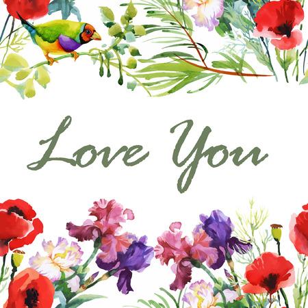 Invitation. Mariage ou carte d'anniversaire. Floral frame. fond d'aquarelle avec des fleurs.