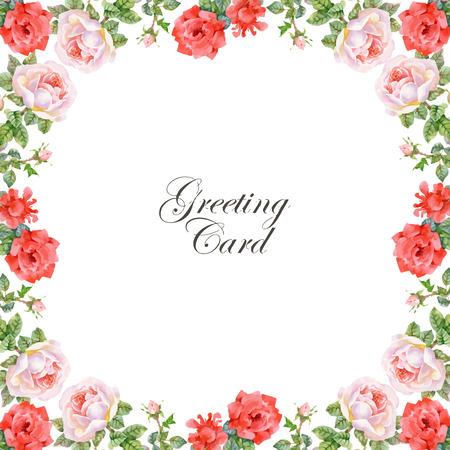 Invitación. Boda o tarjeta de cumpleaños. Marco floral. fondo de la acuarela con las flores. Ilustración de vector