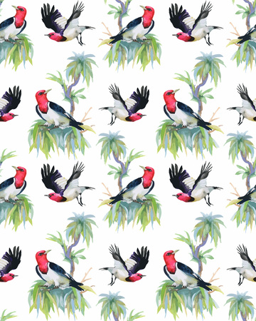 exotic birds: Watercolor hand drawn seamless pattern with summer flowers and exotic birds