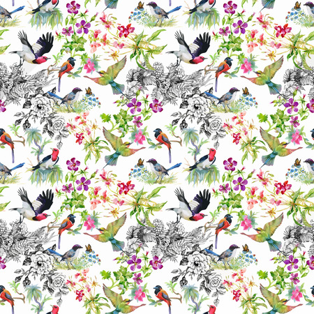 Watercolor hand drawn seamless pattern with summer flowers and exotic birds
