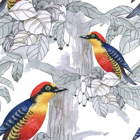 与夏天花和异乎寻常的鸟的水彩手拉的无缝的样式