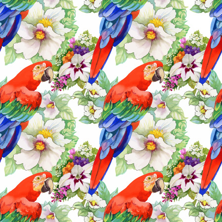 Watercolor seamless pattern with parrots and white flowers on white background