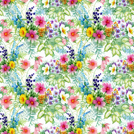 garden flowers: Beautiful Watercolor Summer Garden Blooming Flowers Seamless Pattern on white background