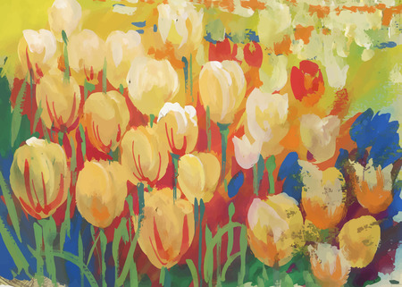 Closeup of colorful field of tulips. Illustration